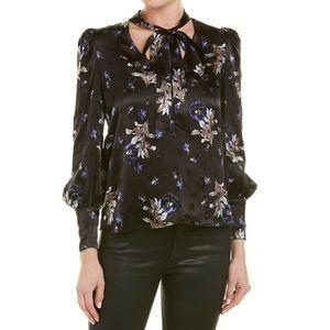 Rebecca Taylor satin neck tie black floral blouse